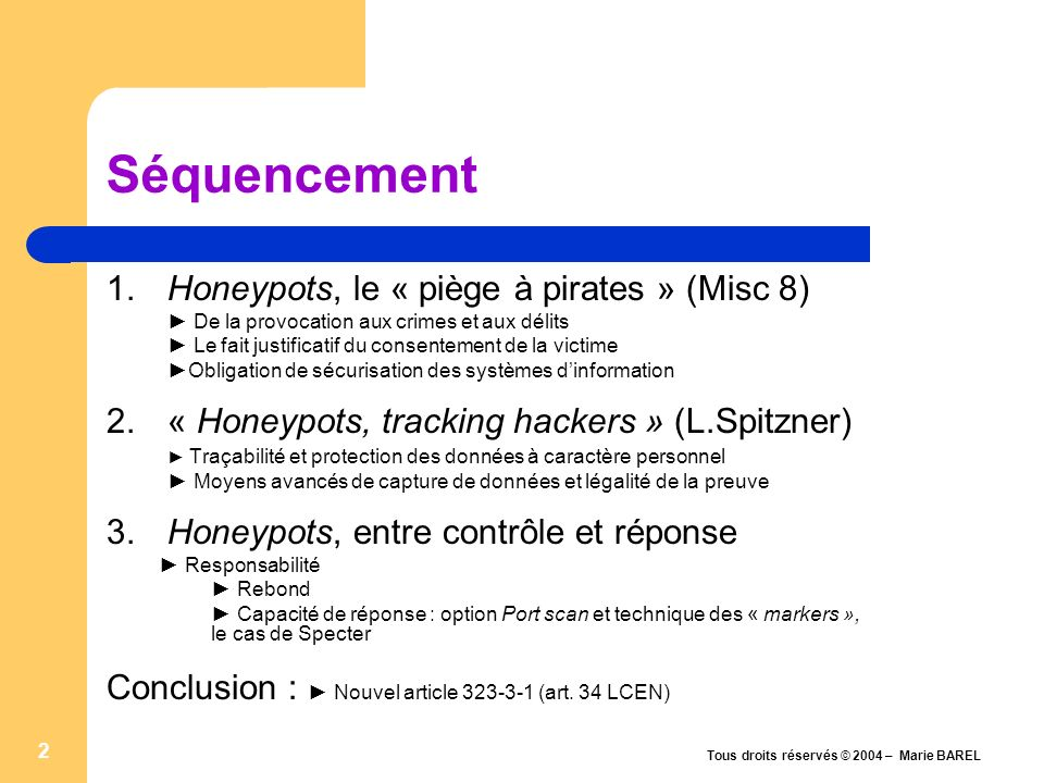 Séquencement 1. Honeypots, le « piège à pirates » (Misc 8)