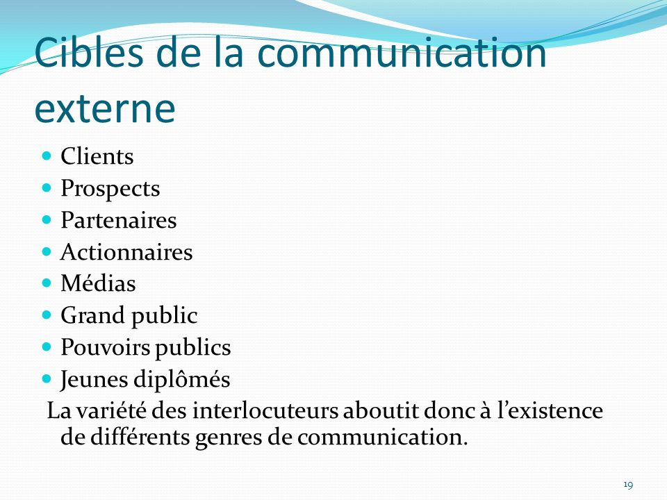 Cibles de la communication externe