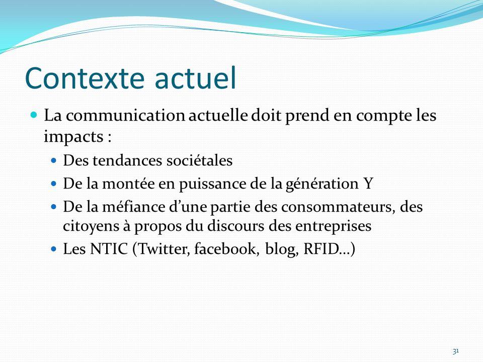 Contexte actuel La communication actuelle doit prend en compte les impacts : Des tendances sociétales.