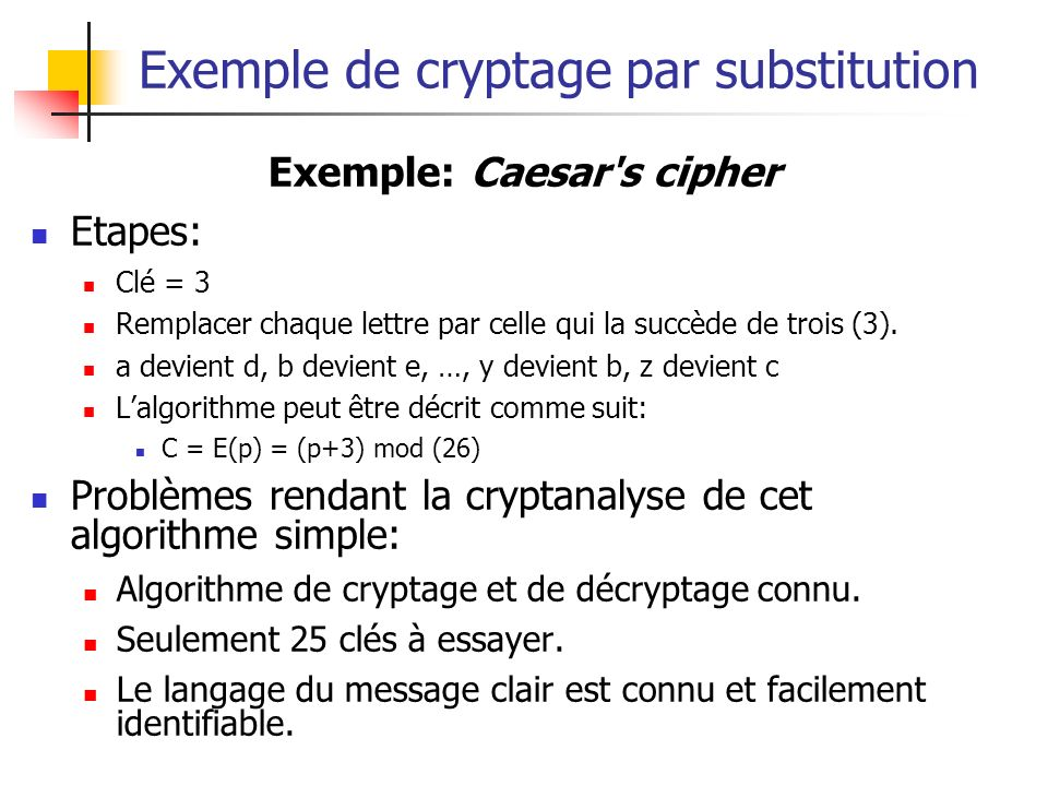 Exemple de cryptage par substitution