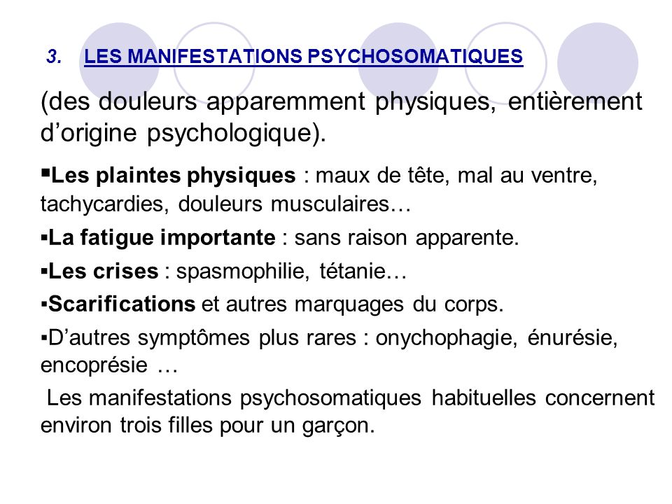 3. LES MANIFESTATIONS PSYCHOSOMATIQUES