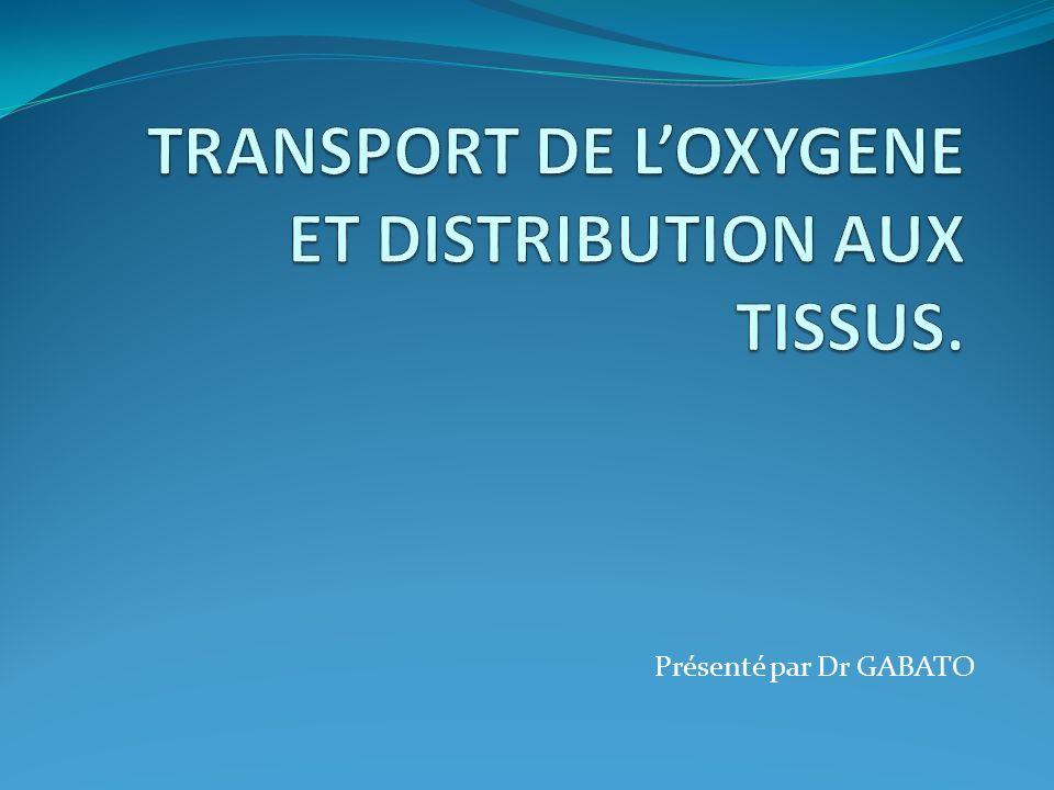 TRANSPORT DE L'OXYGENE ET DISTRIBUTION AUX TISSUS.