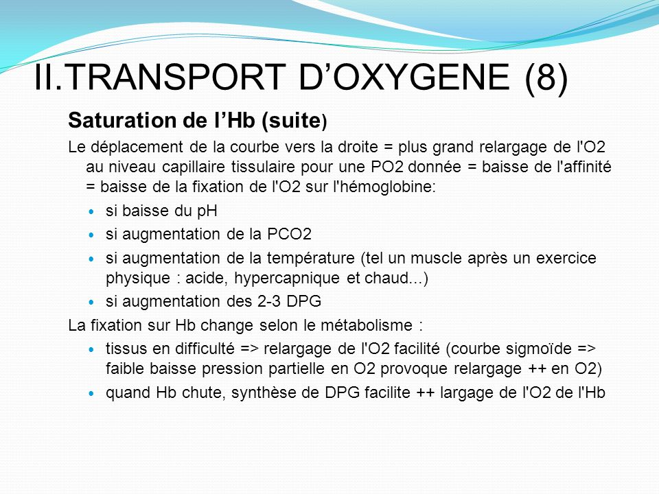 II.TRANSPORT D'OXYGENE (8)