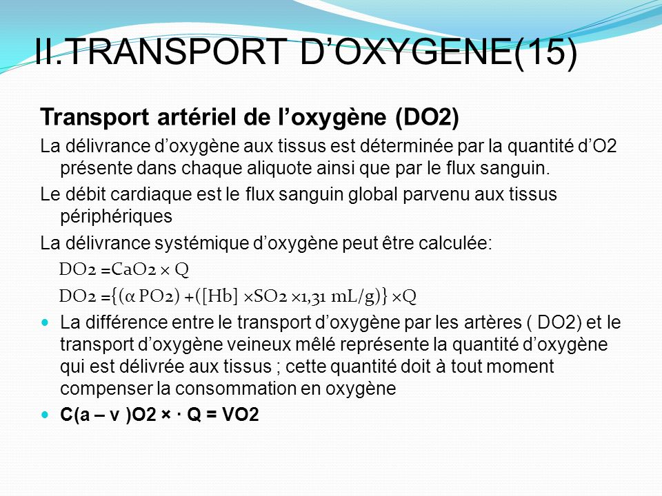 II.TRANSPORT D'OXYGENE(15)