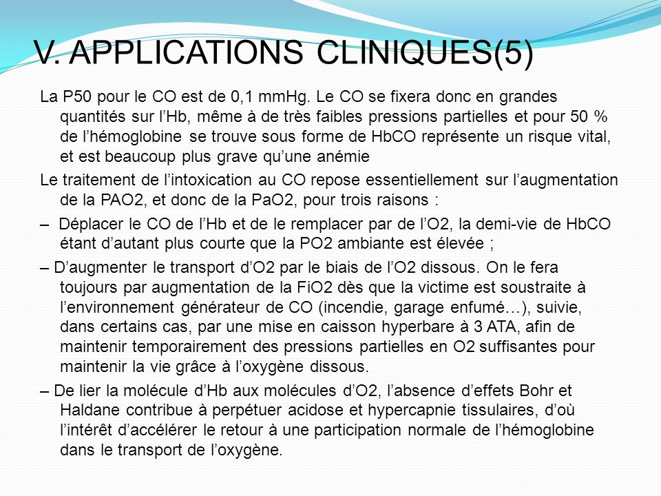 V. APPLICATIONS CLINIQUES(5)