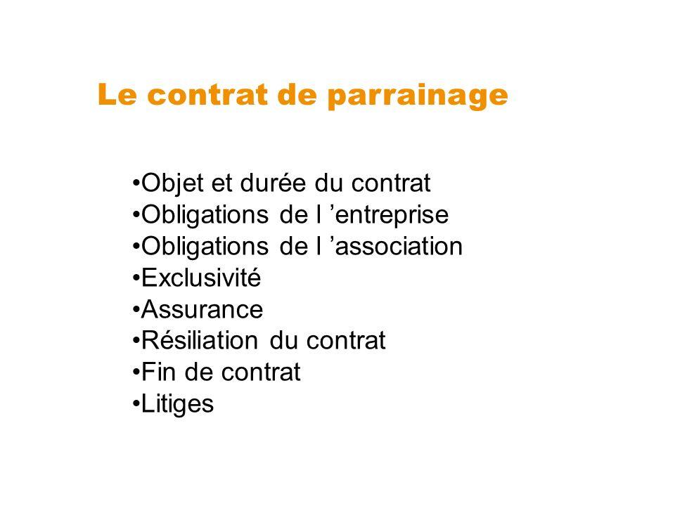 Le contrat de parrainage