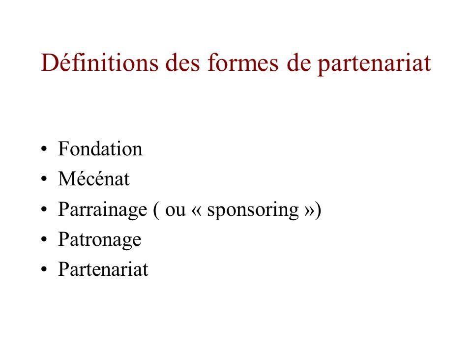 Définitions des formes de partenariat