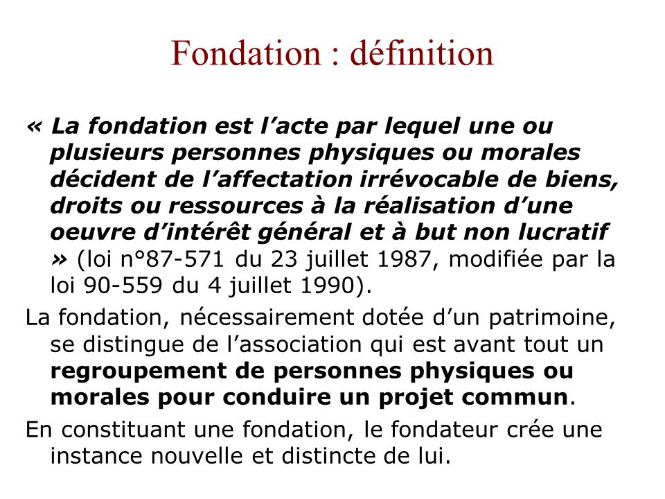 Fondation : définition