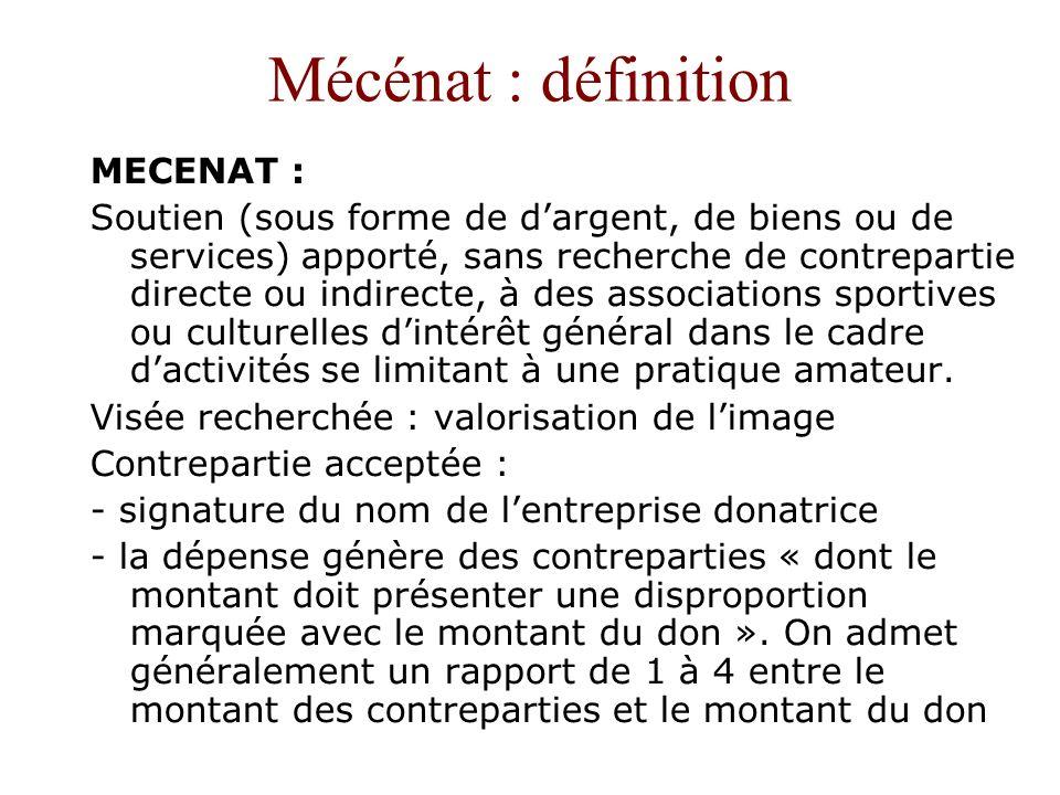 Mécénat : définition MECENAT :