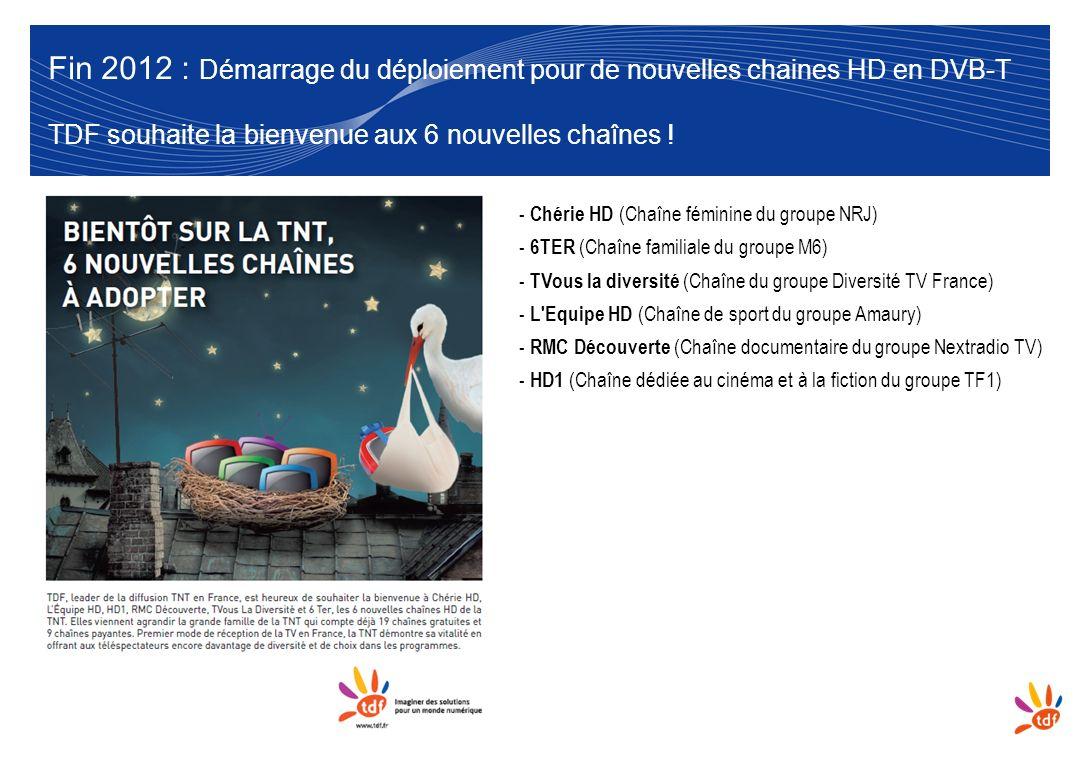 Fin 2012 : Démarrage du déploiement pour de nouvelles chaines HD en DVB-T TDF souhaite la bienvenue aux 6 nouvelles chaînes !