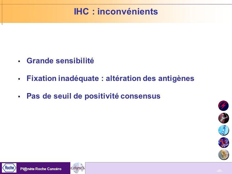 IHC : inconvénients Grande sensibilité