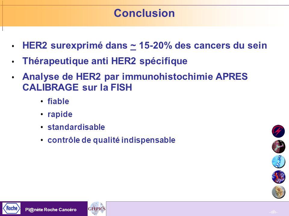 Conclusion HER2 surexprimé dans ~ 15-20% des cancers du sein