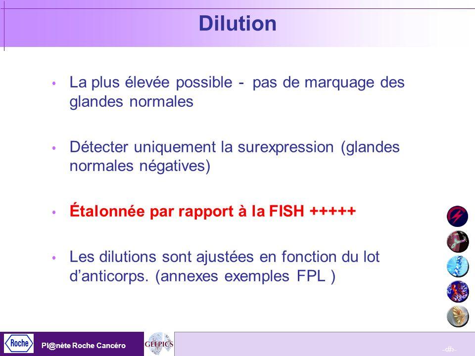 Dilution La plus élevée possible - pas de marquage des glandes normales. Détecter uniquement la surexpression (glandes normales négatives)