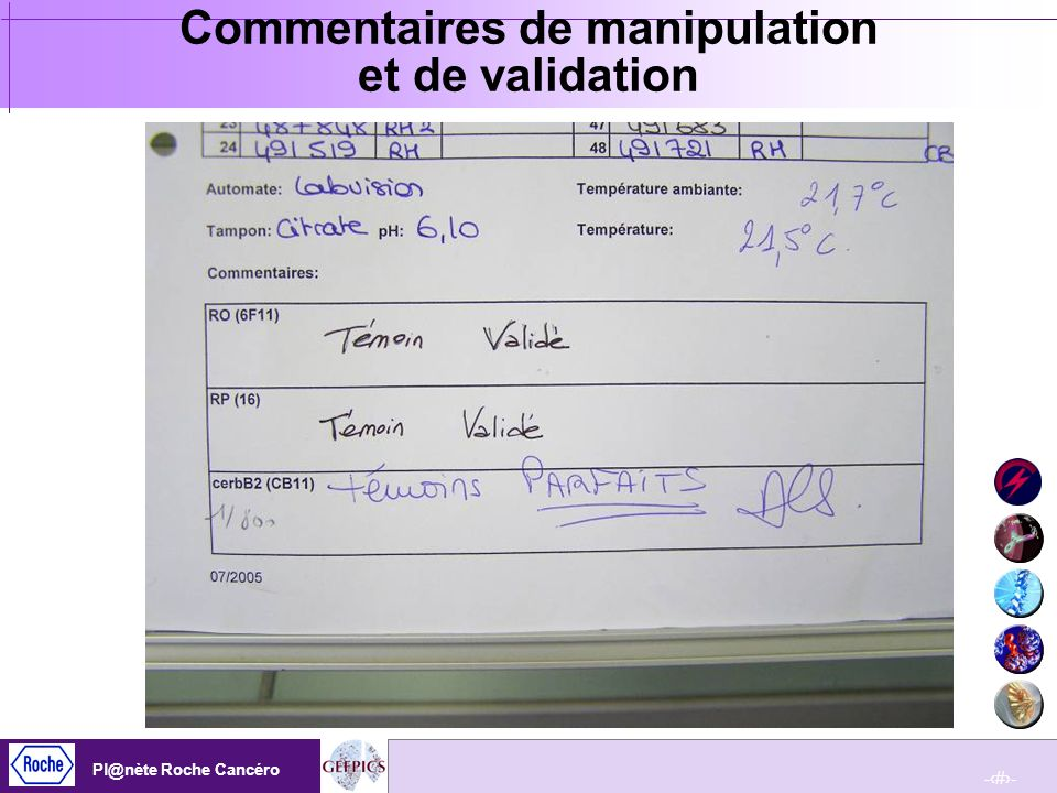Commentaires de manipulation et de validation