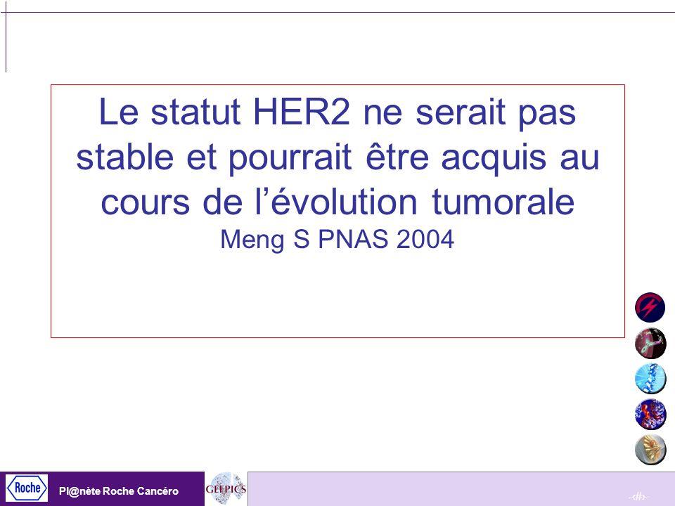 Le statut HER2 ne serait pas stable et pourrait être acquis au cours de l'évolution tumorale Meng S PNAS 2004