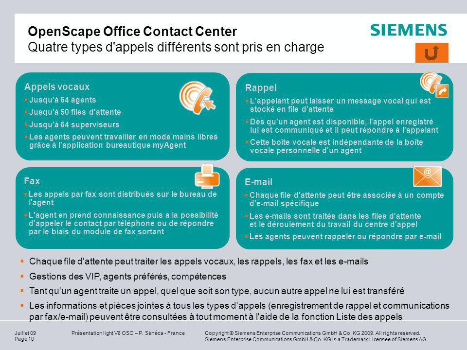 OpenScape Office Contact Center Quatre types d appels différents sont pris en charge