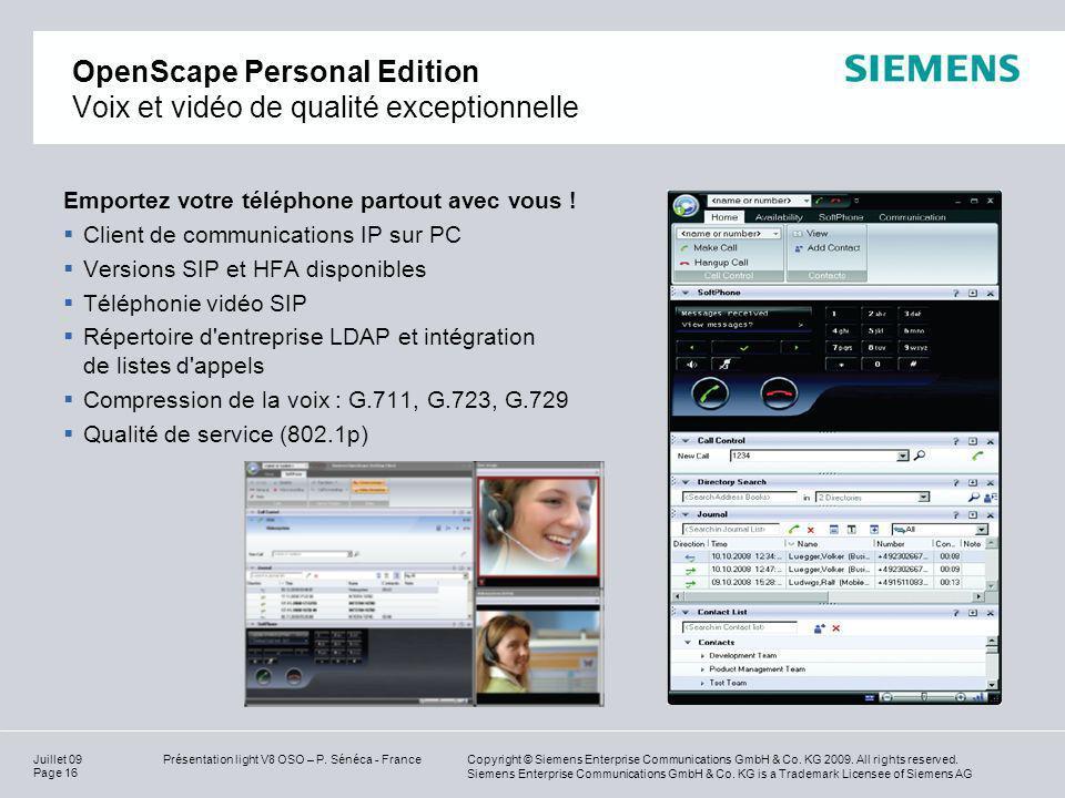 OpenScape Personal Edition Voix et vidéo de qualité exceptionnelle