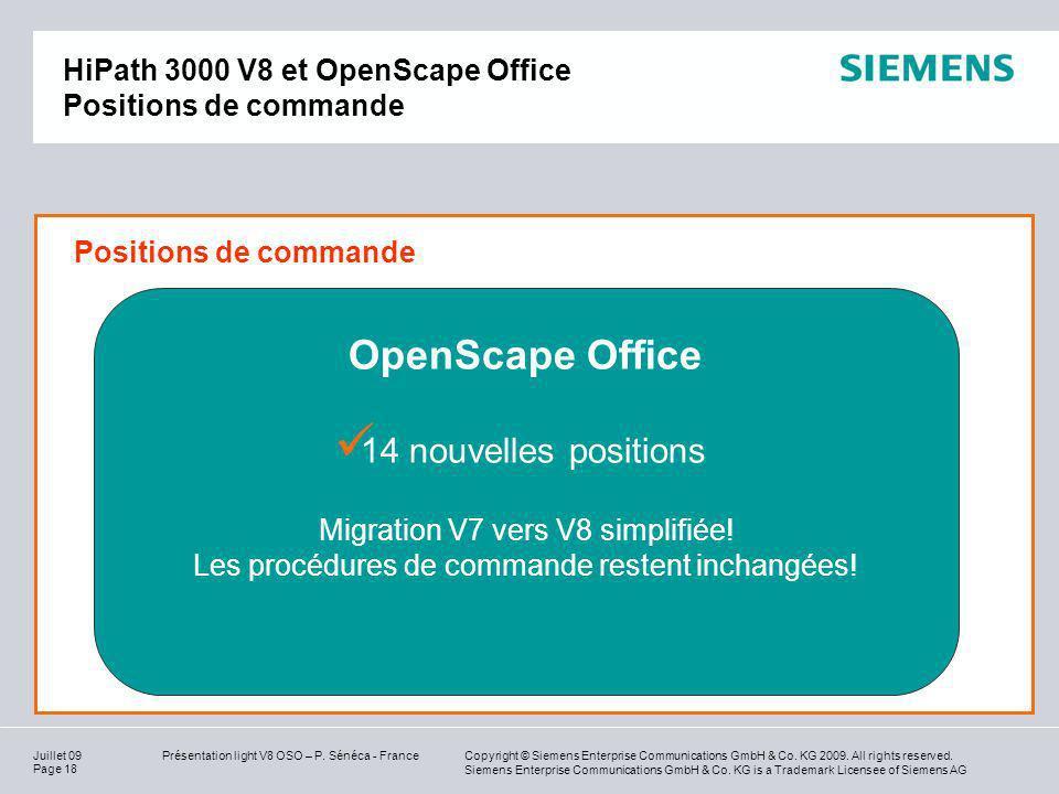 HiPath 3000 V8 et OpenScape Office Positions de commande