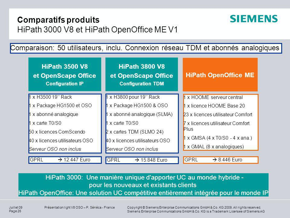 Comparatifs produits HiPath 3000 V8 et HiPath OpenOffice ME V1
