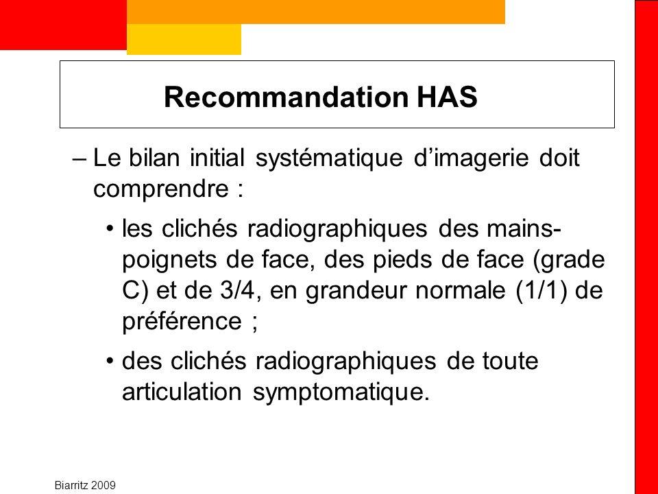 Recommandation HAS Le bilan initial systématique d'imagerie doit comprendre :
