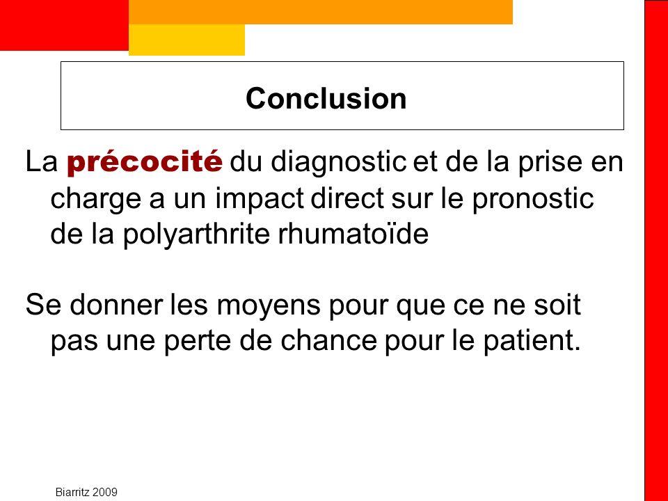 Conclusion La précocité du diagnostic et de la prise en charge a un impact direct sur le pronostic de la polyarthrite rhumatoïde.