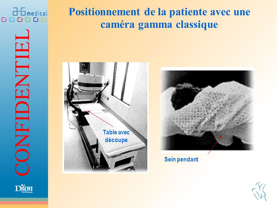 Positionnement de la patiente avec une caméra gamma classique