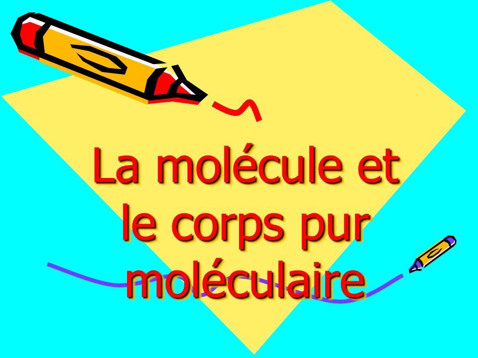La molécule et le corps pur moléculaire