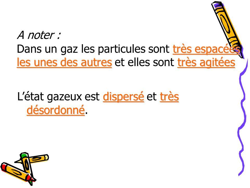 A noter : Dans un gaz les particules sont très espacées les unes des autres et elles sont très agitées