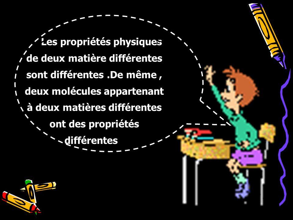 Les propriétés physiques de deux matière différentes sont différentes
