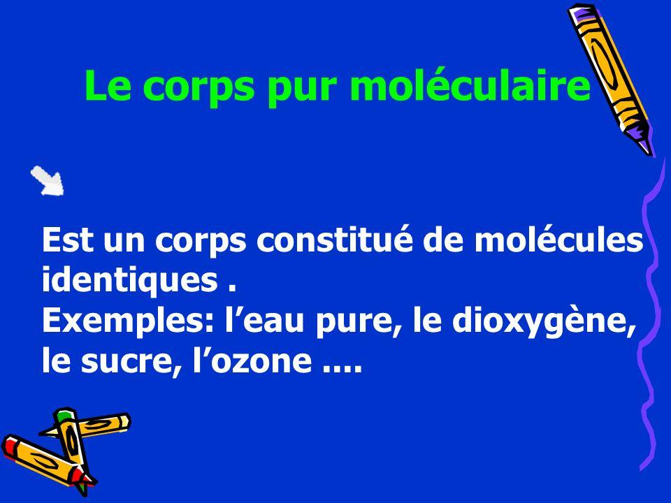 Le corps pur moléculaire