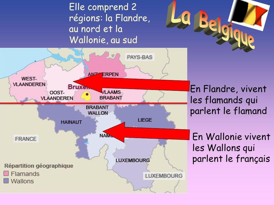 Elle comprend 2 régions: la Flandre, au nord et la Wallonie, au sud