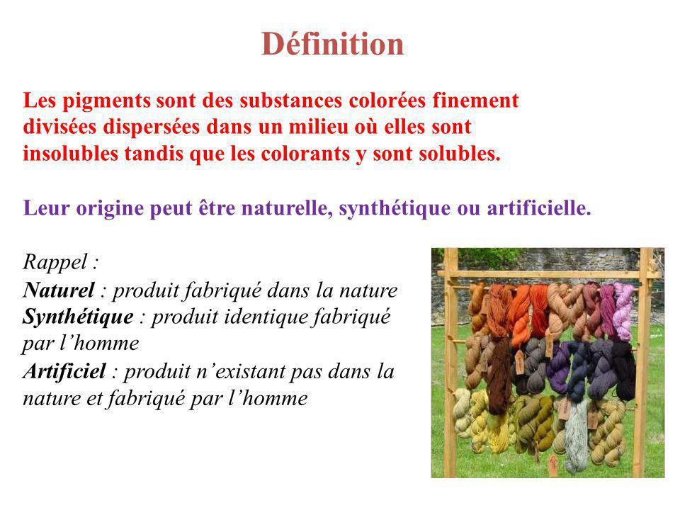 Définition Les pigments sont des substances colorées finement