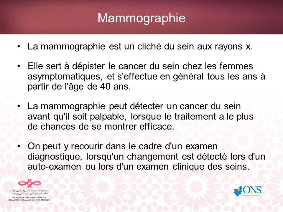 Mammographie La mammographie est un cliché du sein aux rayons x.