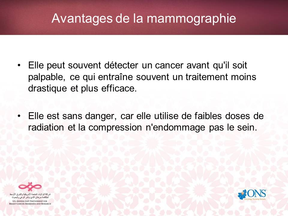 Avantages de la mammographie