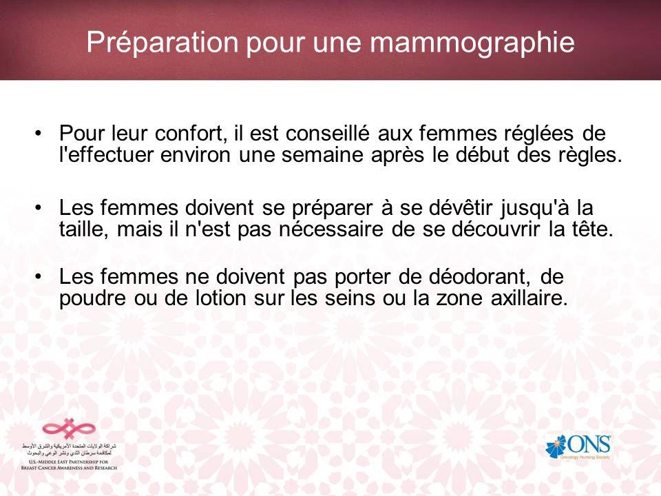 Préparation pour une mammographie