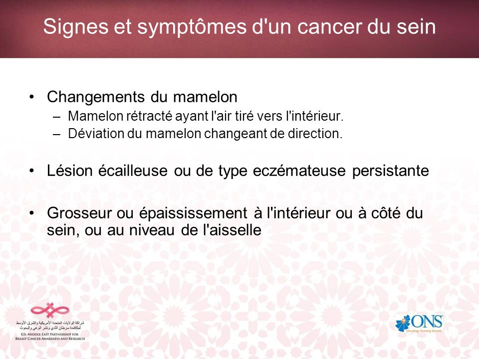 Signes et symptômes d un cancer du sein