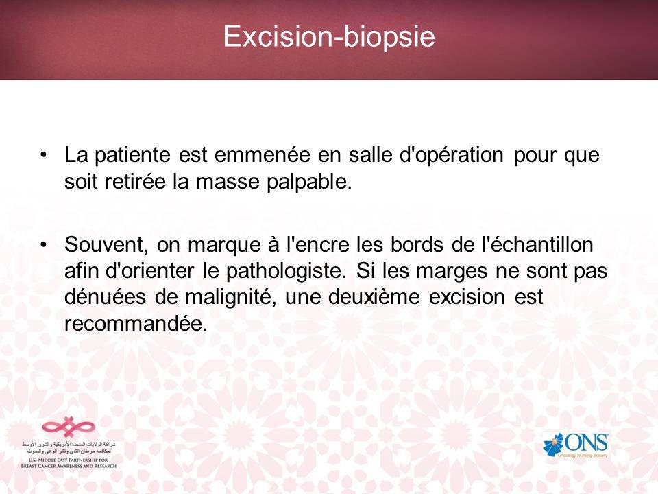 Excision-biopsie La patiente est emmenée en salle d opération pour que soit retirée la masse palpable.