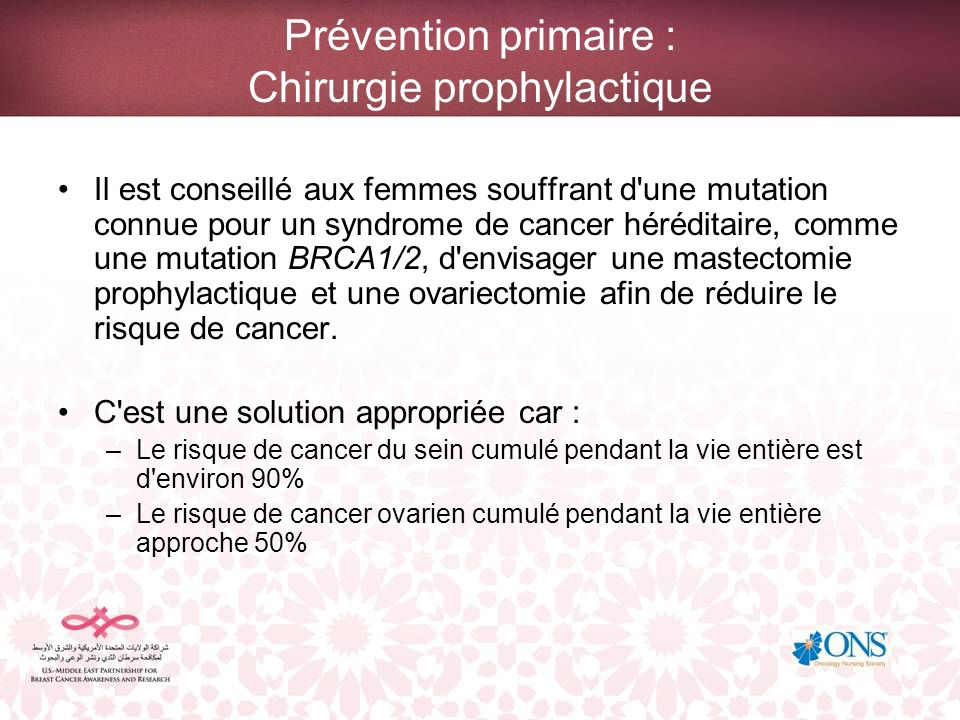 Prévention primaire : Chirurgie prophylactique