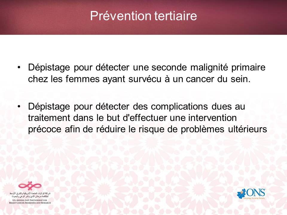 Prévention tertiaire Dépistage pour détecter une seconde malignité primaire chez les femmes ayant survécu à un cancer du sein.