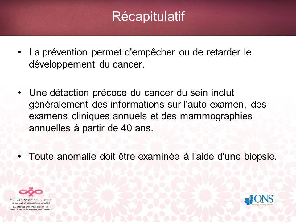RécapitulatifLa prévention permet d empêcher ou de retarder le développement du cancer.