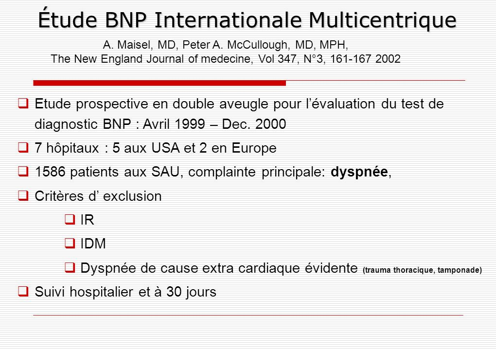 Étude BNP Internationale Multicentrique