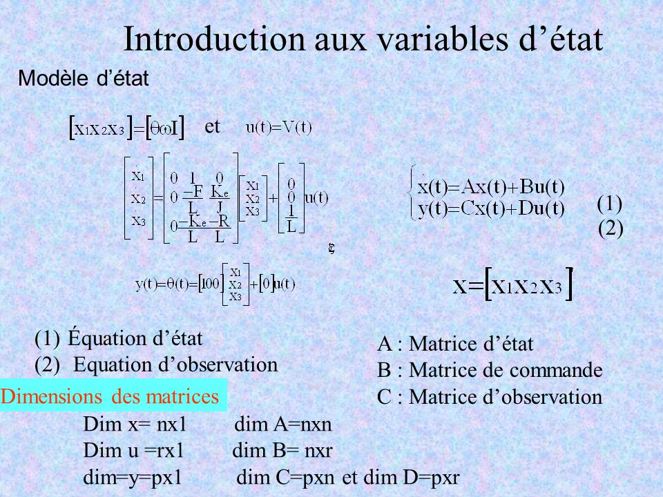 Introduction aux variables d'état