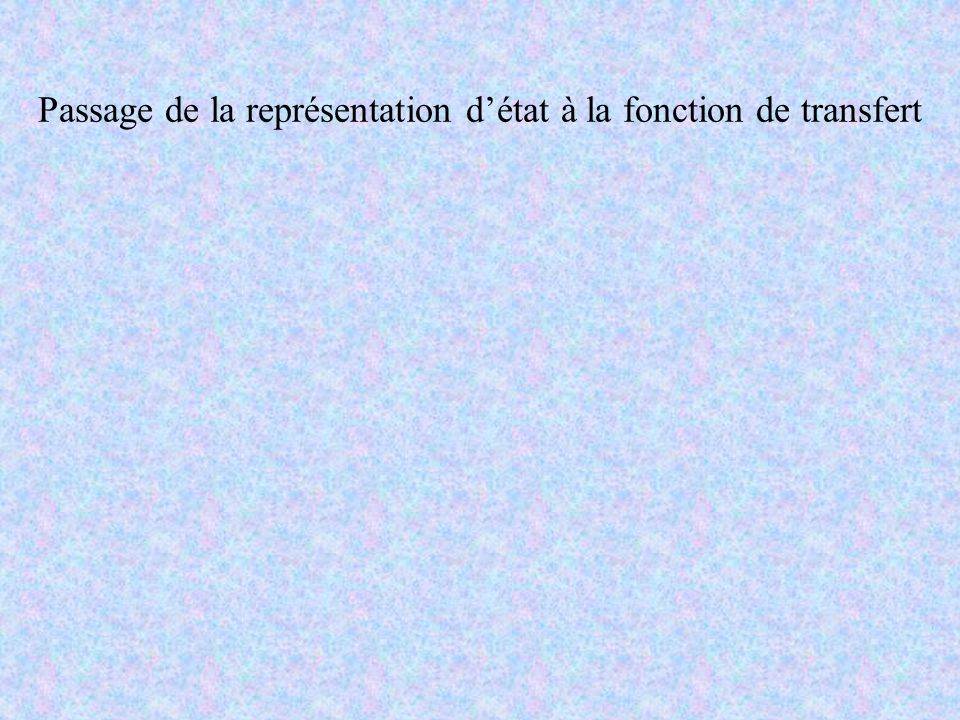 Passage de la représentation d'état à la fonction de transfert