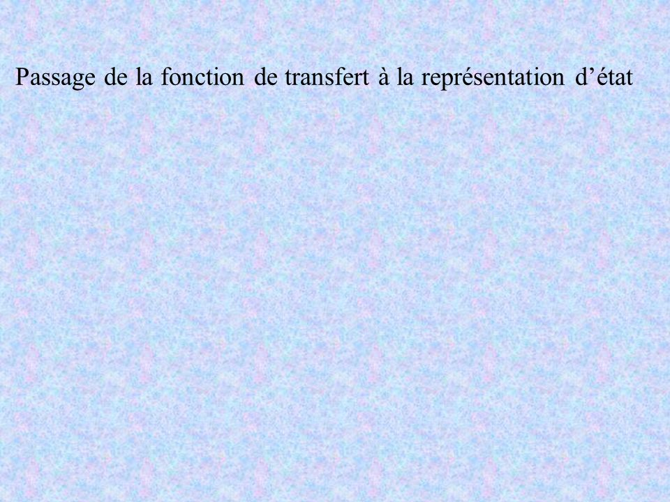 Passage de la fonction de transfert à la représentation d'état