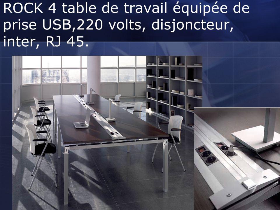 ROCK 4 table de travail équipée de prise USB,220 volts, disjoncteur, inter, RJ 45.