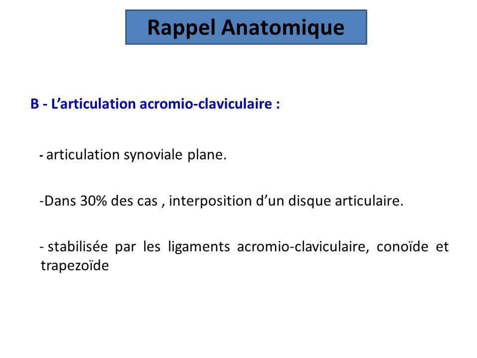 Rappel Anatomique B - L'articulation acromio-claviculaire :