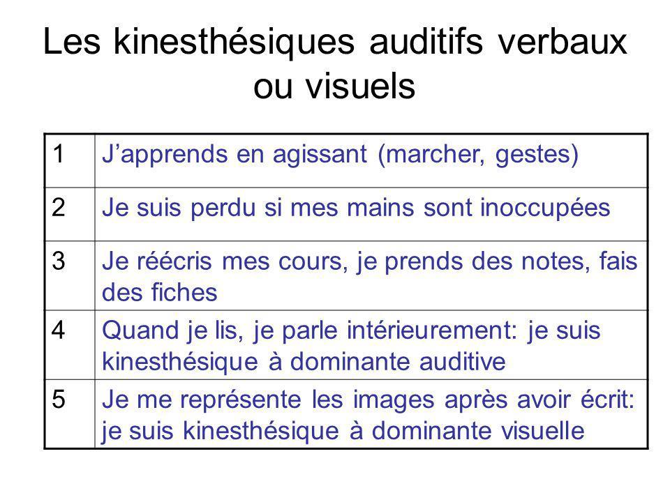 Les kinesthésiques auditifs verbaux ou visuels