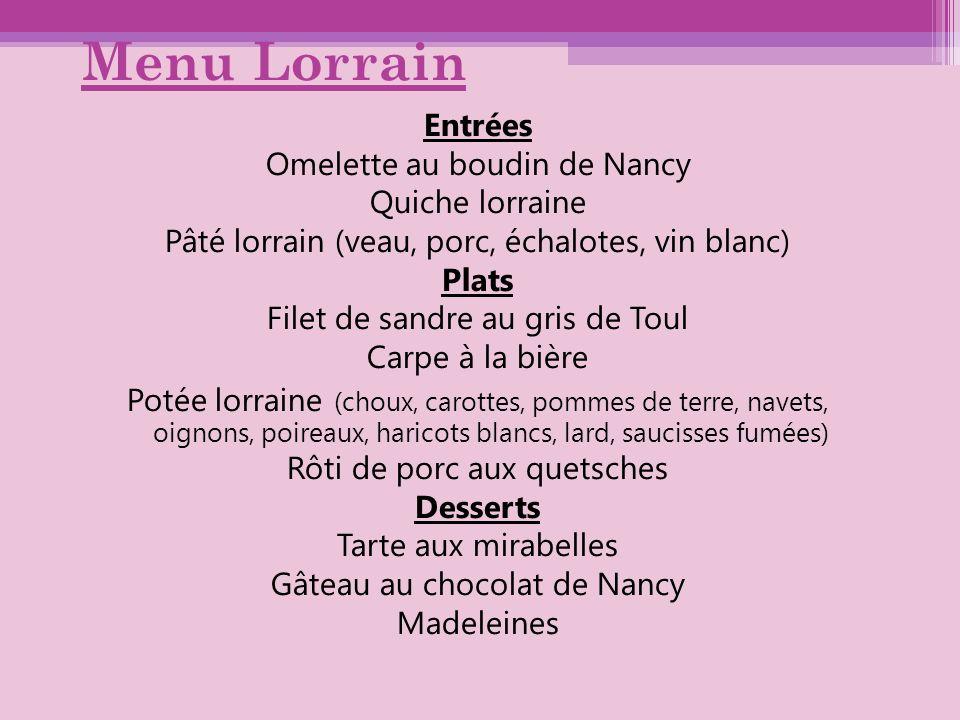 Menu Lorrain Entrées Omelette au boudin de Nancy Quiche lorraine