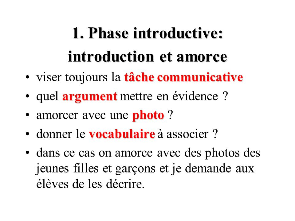 introduction et amorce