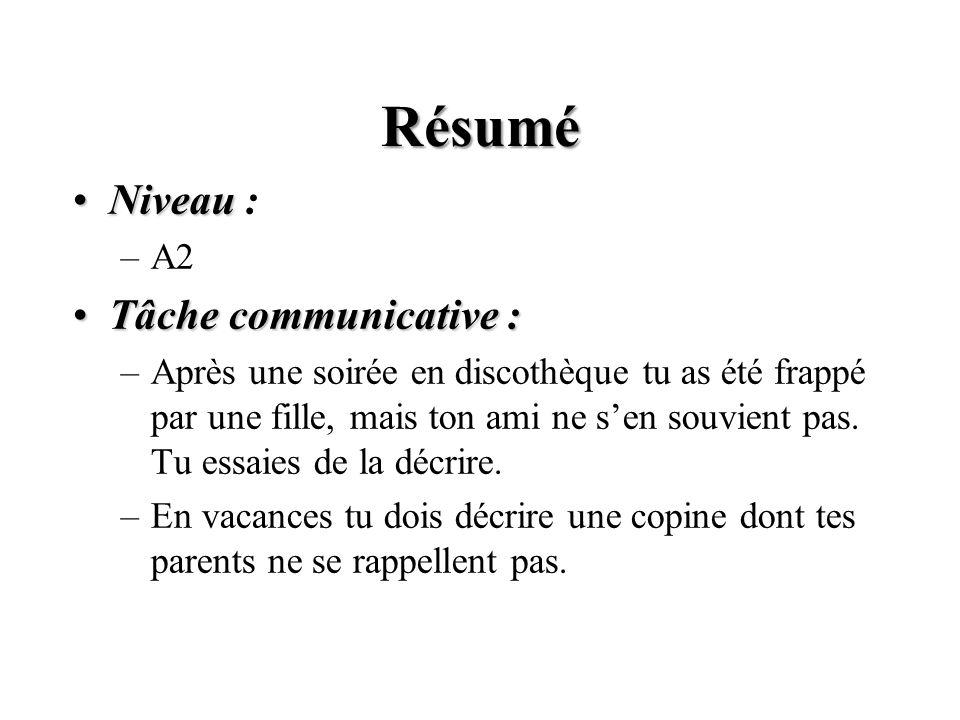 Résumé Niveau : Tâche communicative : A2